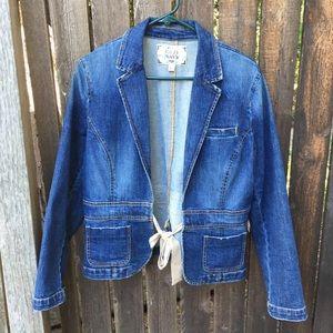 Old Navy Denim Jeans Jacket Tie Closure Size L